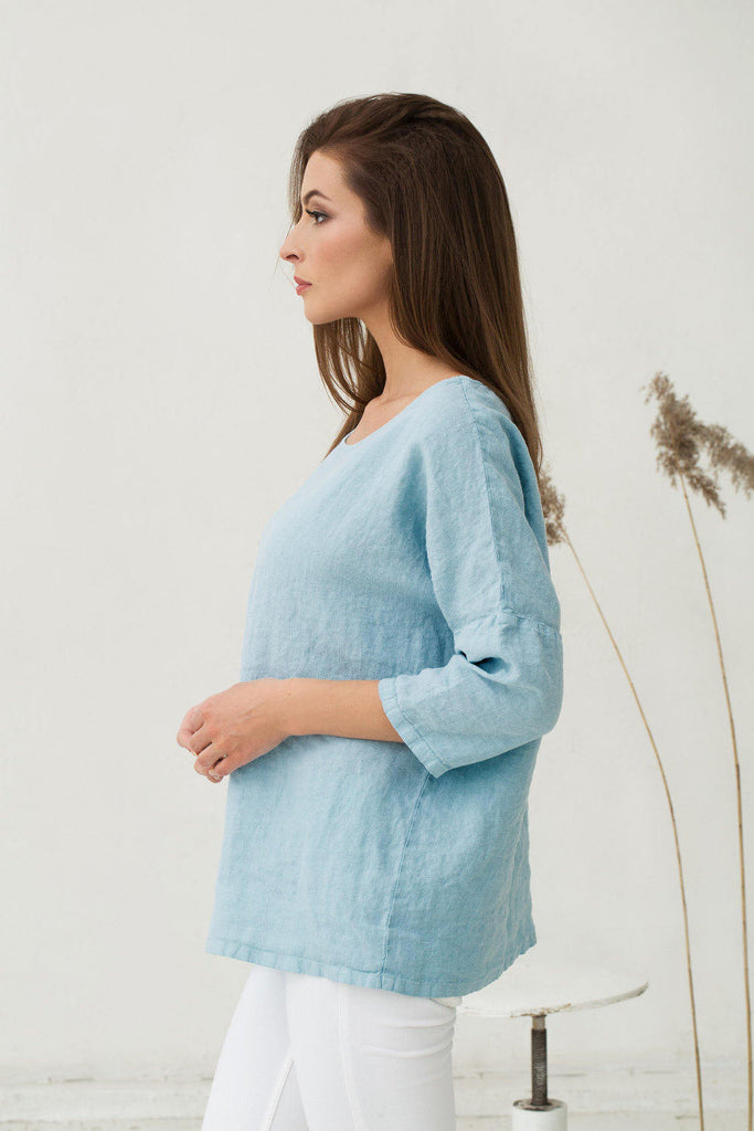 Baby blue stonewashed linen top with sleeves M L XL sizes