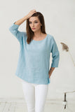 Loose fit linen top in light blue colour