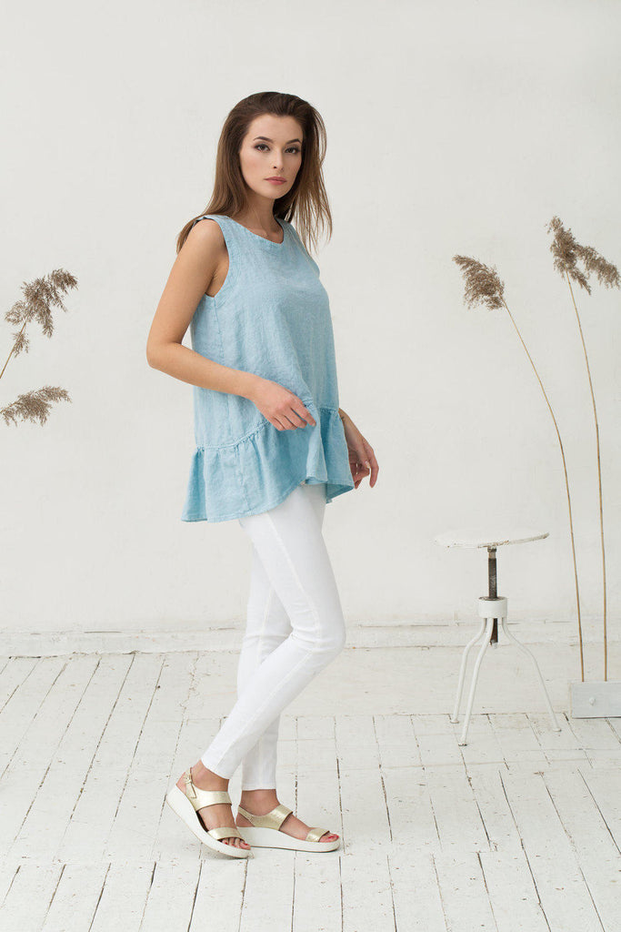 Ruffled light blue linen top