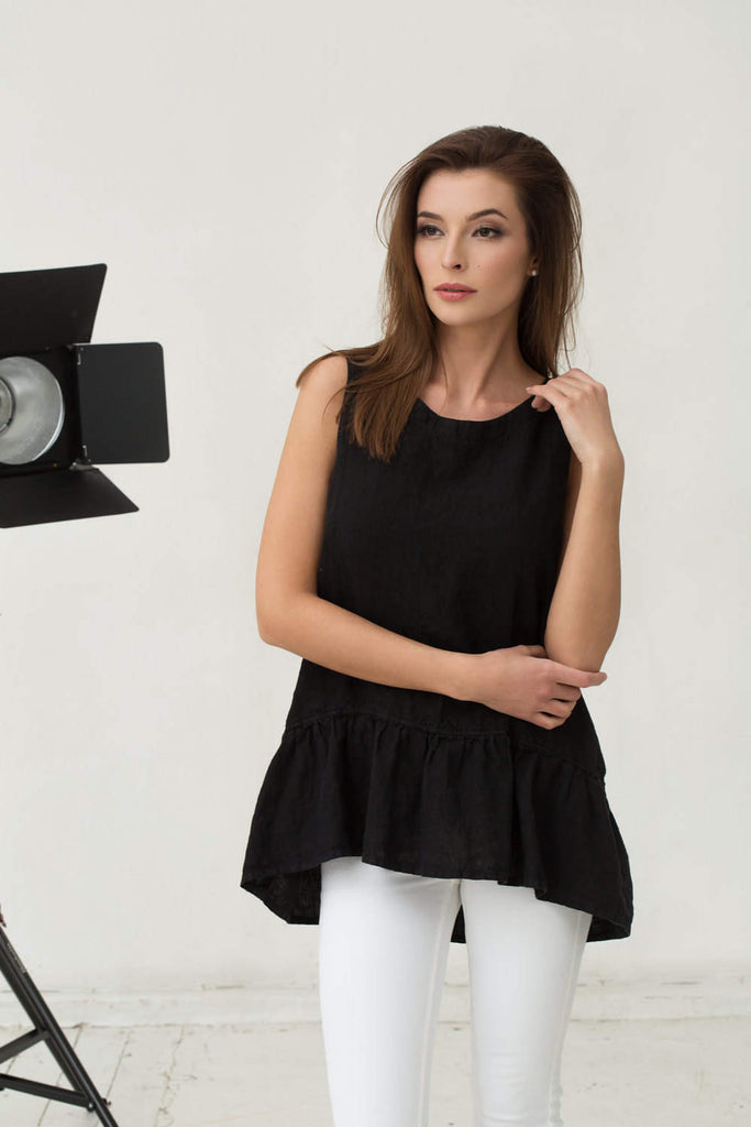 Stonewashed linen black blouse with frills M L sizes