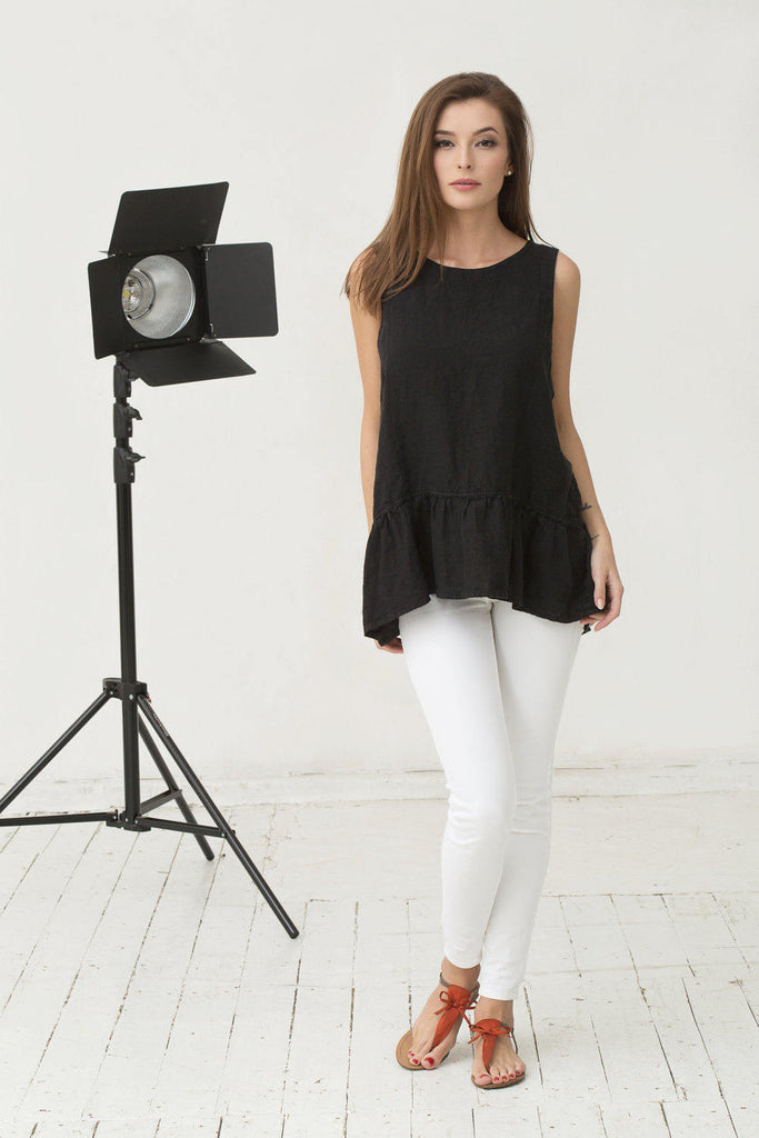 Black linen sleeveless blouse with ruffles