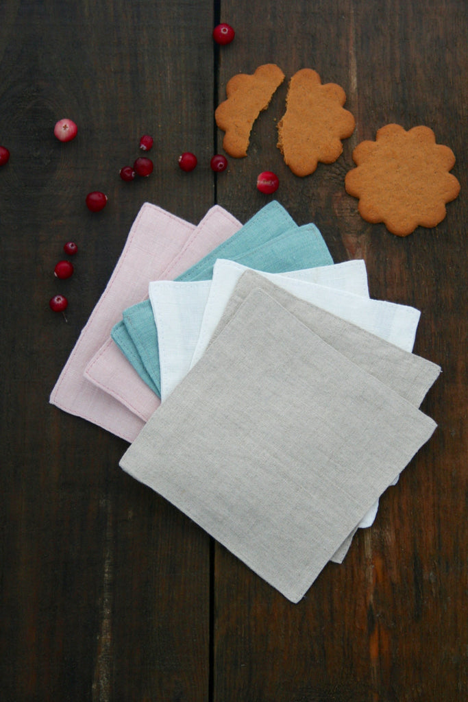 Softened linen washable tea coasters set of 4