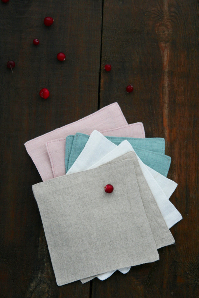 Linen coasters, set of 4, 6, 8