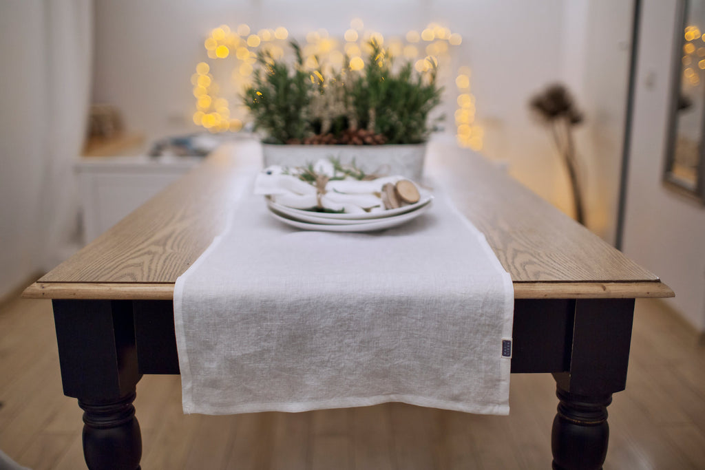 Soft pure linen table runners in 12 colours