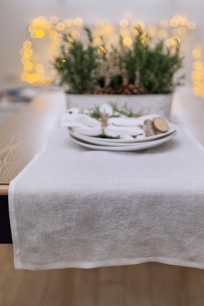 Stone washed linen table runner in 12 colours