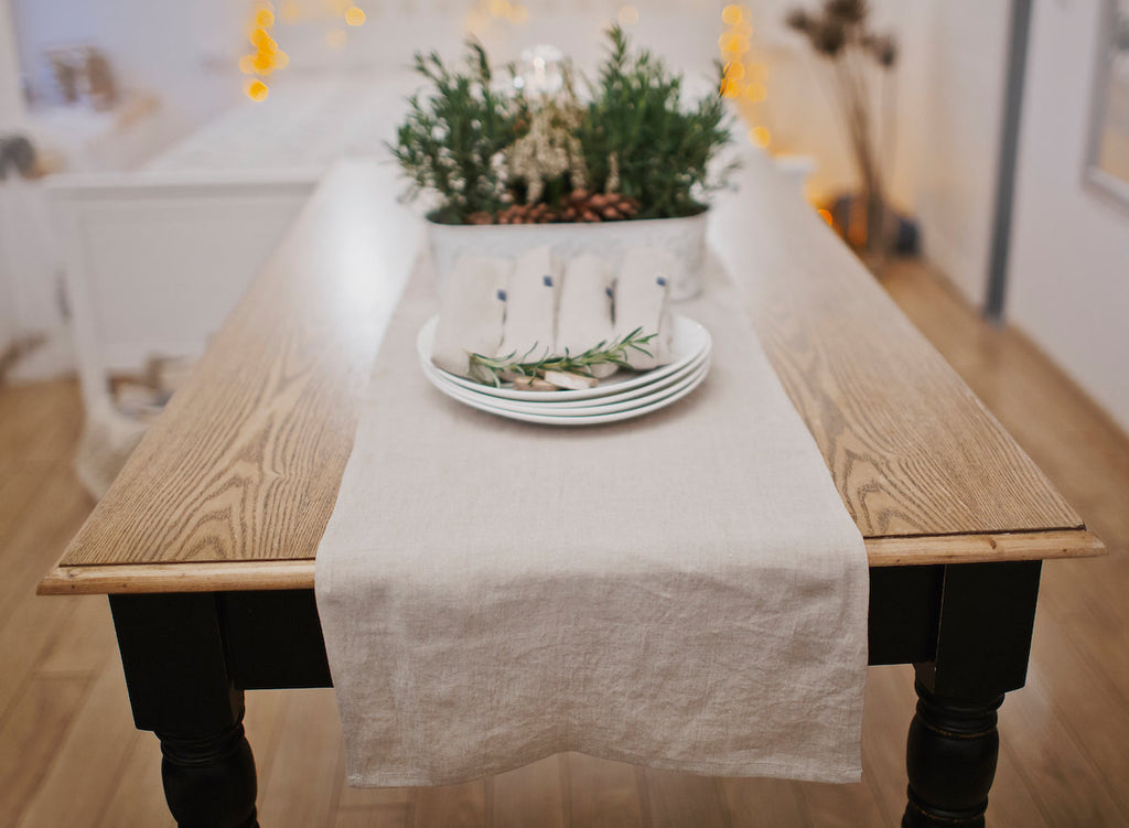 Washed softened flax table runner cover in white