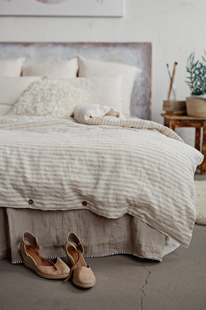 Softened Flax Linen Bedding In Neutral Beige And White ...