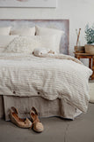 Softened flax linen bedding in neutral beige and white
