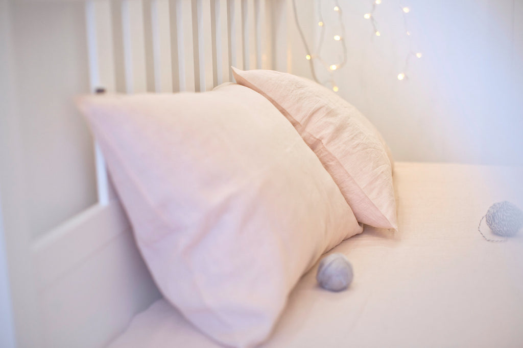 Pale pink softened linen pillow cover housewife square deco lumbar boudoir size