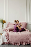 Linen duvet cover with ruffles