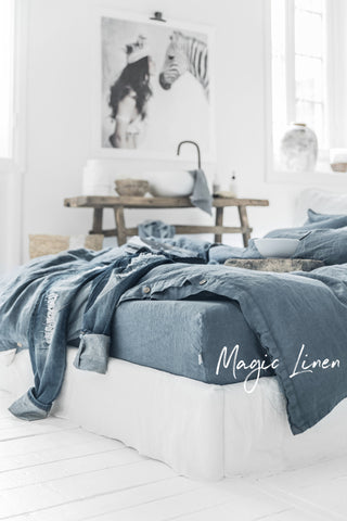 Grey Blue Linen Duvet Cover