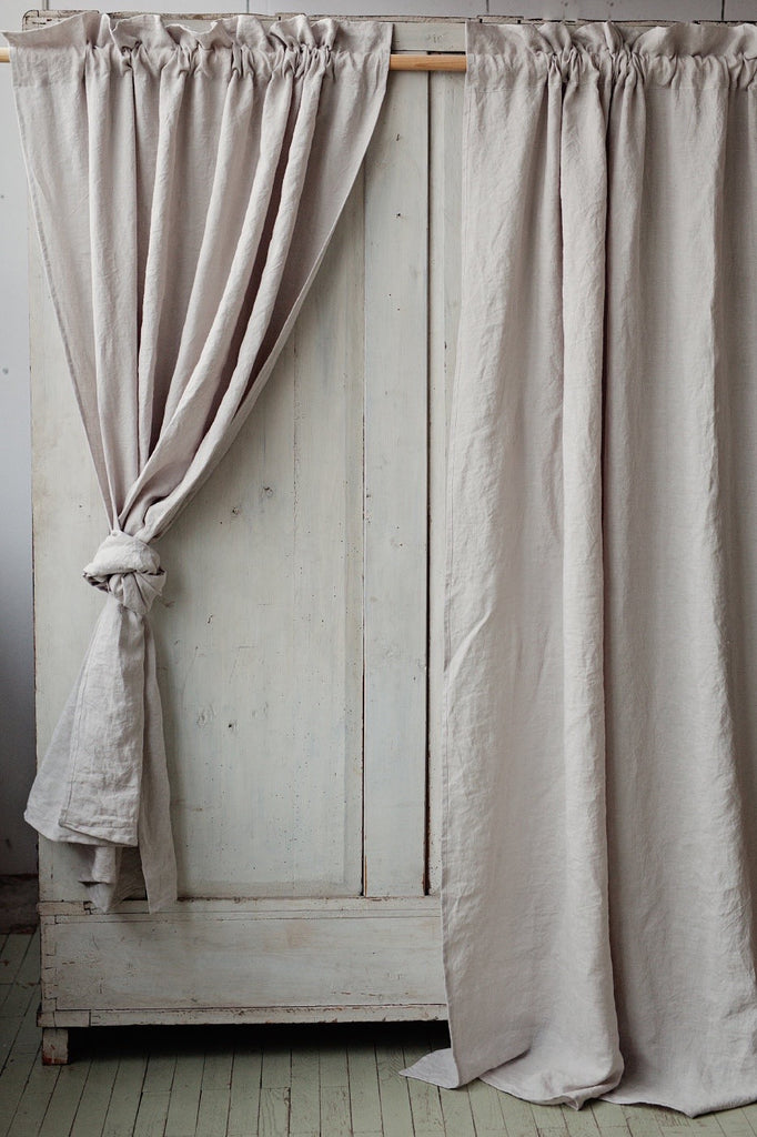 Linen Curtain Panel With Rod Pocket