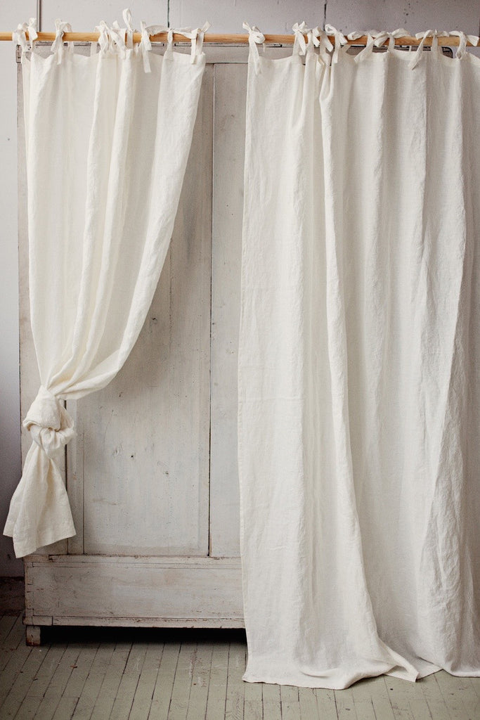 Linen Curtain Panel With Ties