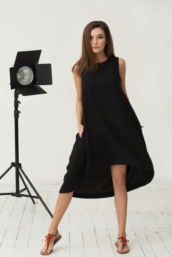 black linen dress for women oversized loose fitting clothes