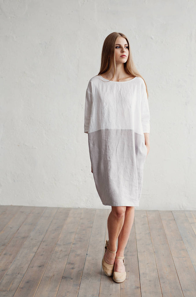 Oversized linen tunic with sleeves in white and grey XL size