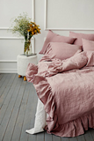 Natural linen color softened linen doona cover with ruffles australian single double king queen size