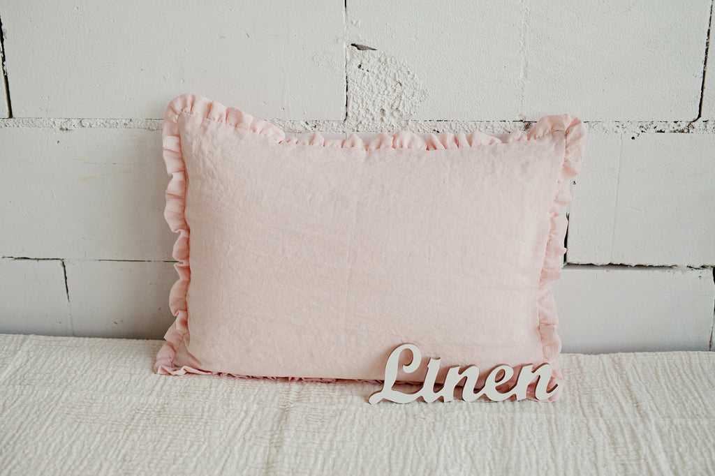 Baby pink linen pillow case with ruffles
