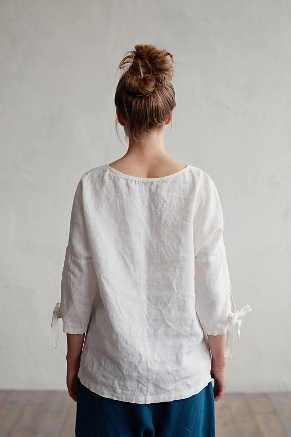 Oversized washed linen top with sleeves in ivory