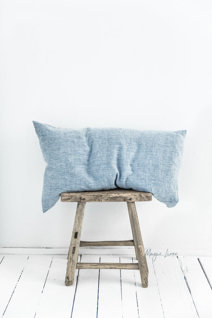 melage blue linen pillow cover slip case standard queen sizes