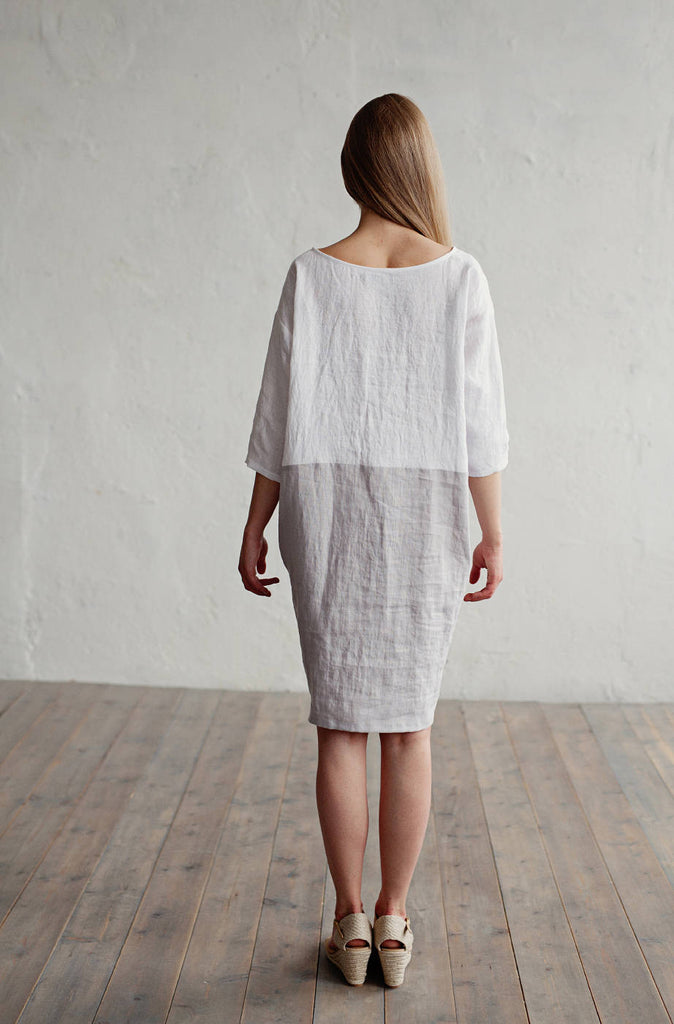 Color blocked stonewashed linen summer dress S size