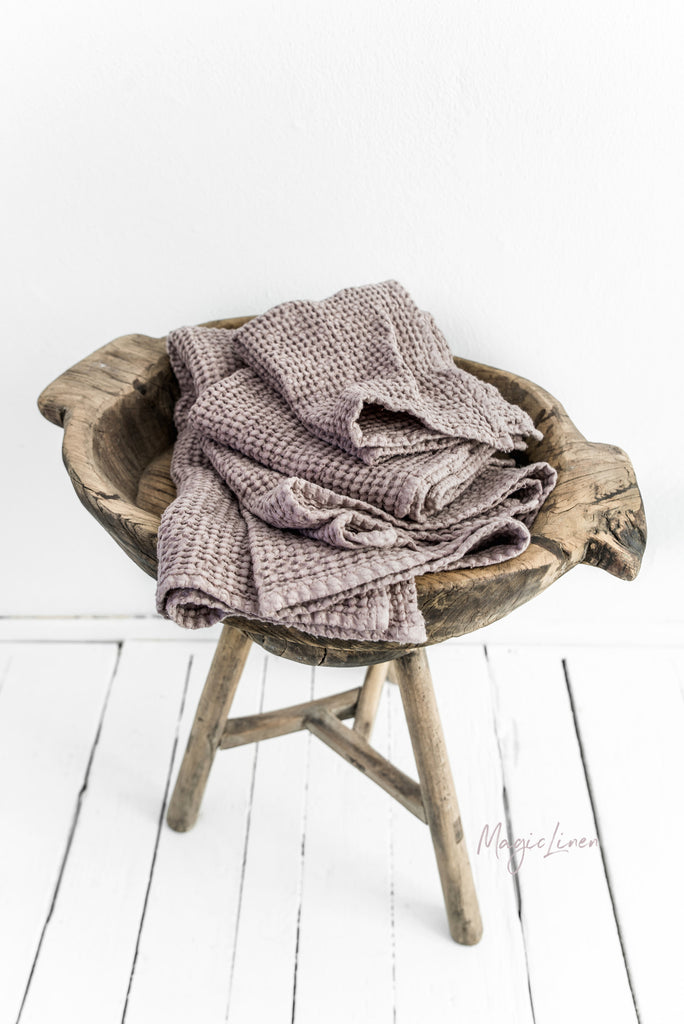Set of 3 rose linen towels