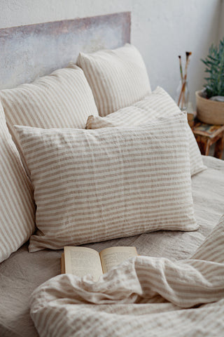 Striped Natural Colour Linen Pillow Case