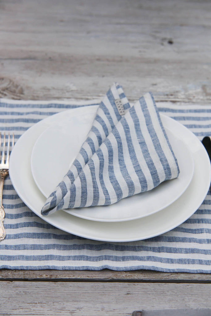 Washable stonewashed linen striped in blue and white napkins set of 6