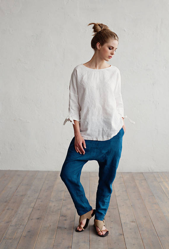 Linen top with tie sleeves in 15 colours