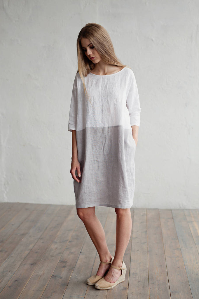 White and gray linen dress