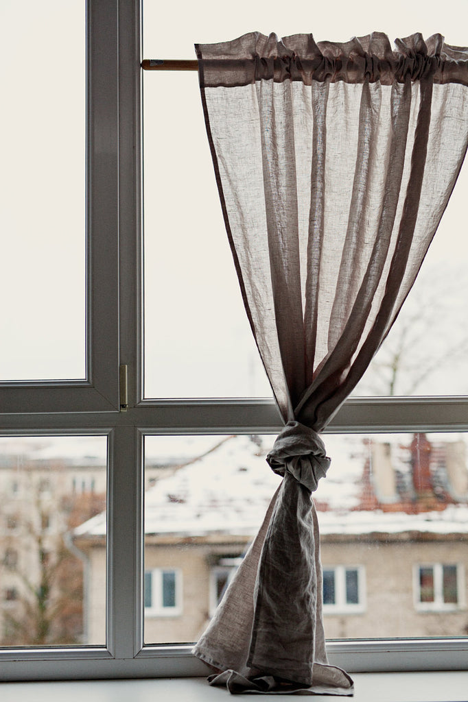 Soft pure linen sheer curtains and drapes in natural flax color
