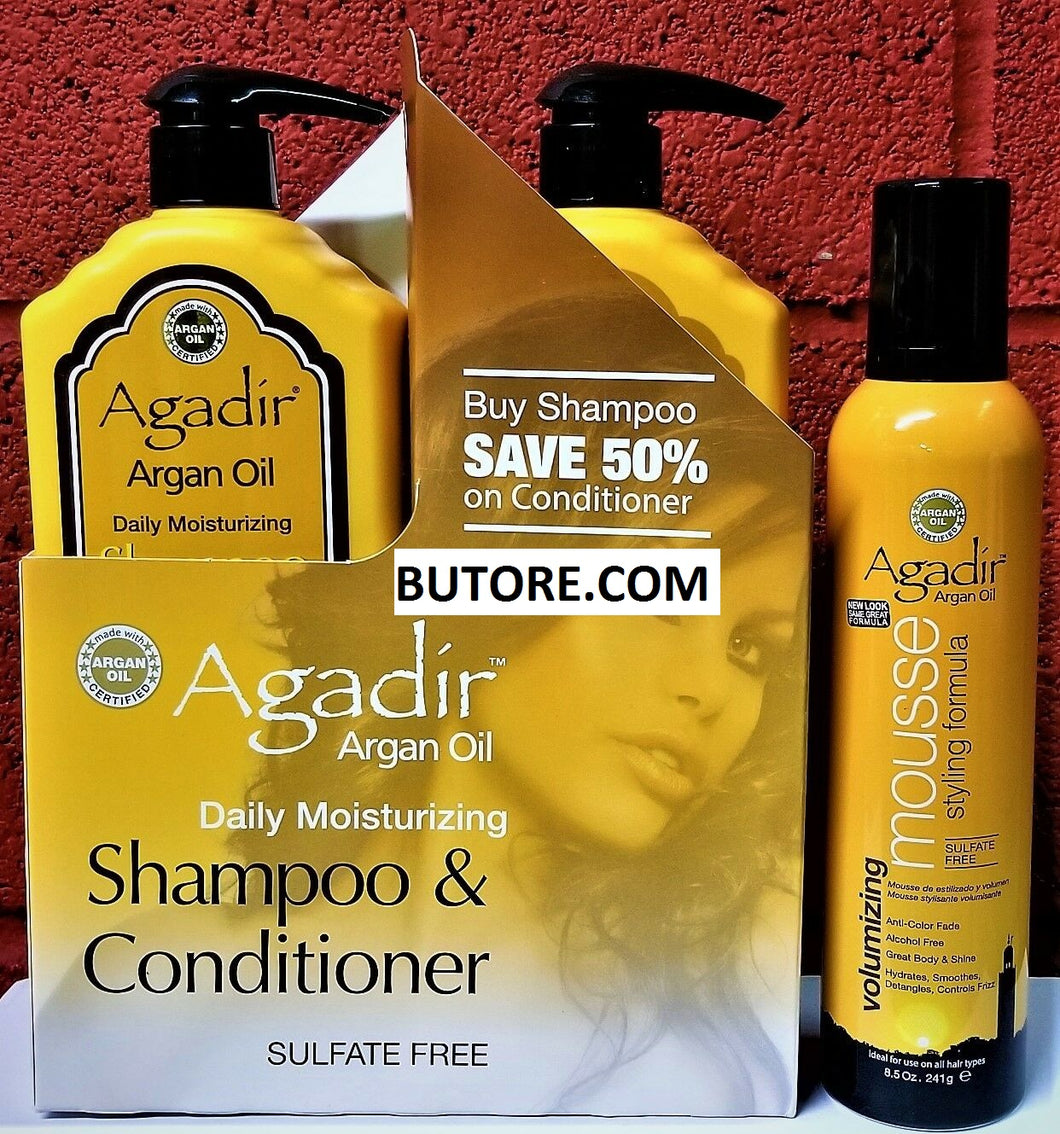 Argan Oil Daily Moisturizing Shampoo+Conditioner LITER DUO + MOUSSE 8.5OZ