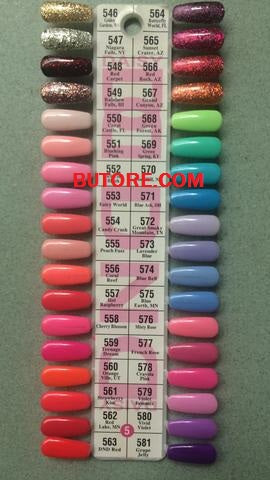 DND Daisy Gel Polish Color Sample Chart #5 Palette Display.