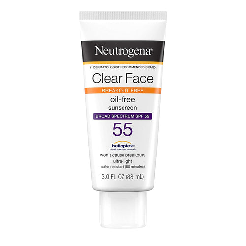 Neutrogena Clear Face Liquid Lotion Sunscreen for Acne-Prone Skin, Broad Spectrum SPF 55 3oz