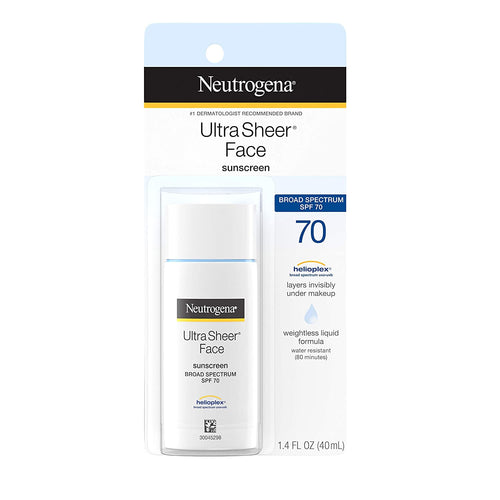 Neutrogena Ultra Sheer Liquid Daily Facial Sunscreen SPF 70, Oil-Free, 1.4 fl. oz