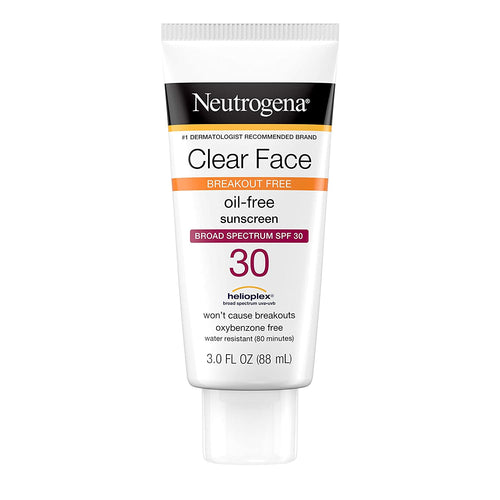 Neutrogena Clear Face Liquid Sunscreen for Acne-Prone Skin, Broad Spectrum SPF 30 Sunscreen Lotion 3oz
