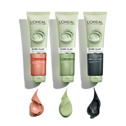 L'Oreal Paris Skincare Pure-Clay Facial Cleanser with Charcoal for Dull and Tired Skin 4.4 fl. oz.