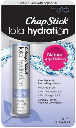 ChapStick Total Hydration 100% Natural Age-Defying Lip Balm Tube (Soothing Vanilla Flavor, 0.12oz