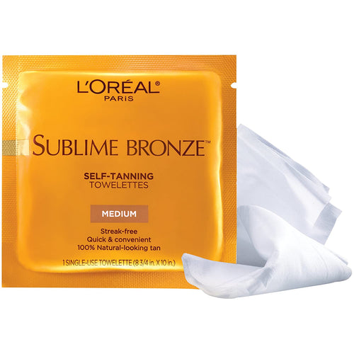 L'Oreal Paris Skincare Sublime Bronze Sunless Tanning Towelettes, Fast-Drying, Streak-Free Self-Tanner, Suitable for all Skin Types, 2 Count