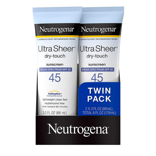Neutrogena Ultra Sheer Dry-Touch Water Resistant and Non-Greasy Sunscreen Lotion SPF 45, 3 fl. oz, Pack of 2