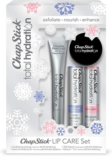 Chapstick Total Hydration Lip Care Set (4 Count), Lip Scrub, Lip Oil, Naturals & Moisture + Tint - Great Gifts for Women