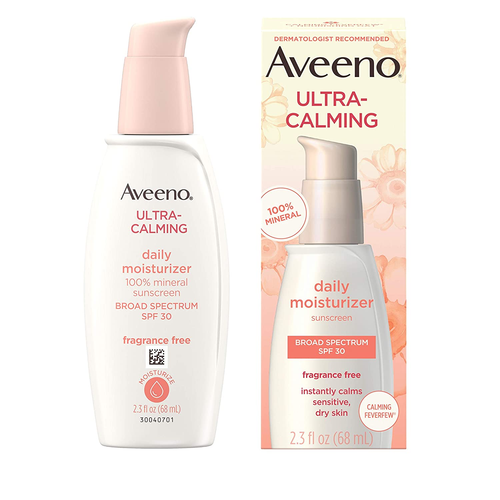 Aveeno Ultra-Calming Fragrance-Free Daily Facial Moisturizer for Sensitive, Dry Skin with SPF 30, 2.3 oz