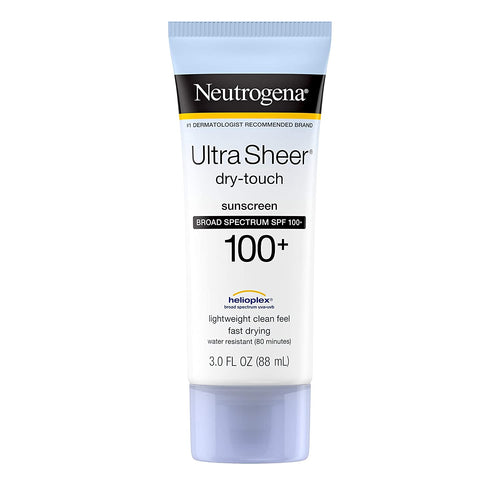 Neutrogena Ultra Sheer Dry-Touch Water Resistant and Non-Greasy Sunscreen Lotion with Broad Spectrum SPF 100+, 3 Fl Oz