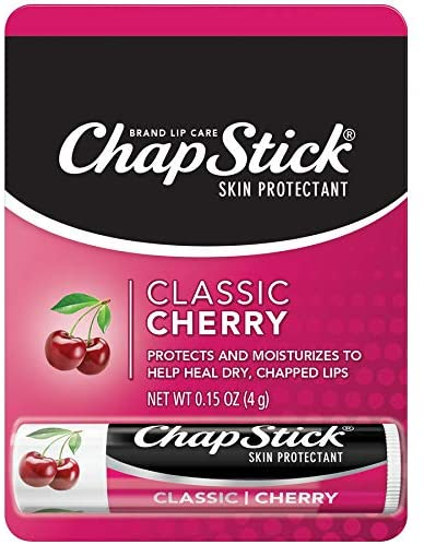 Chapstick Classic Lip Balm Skin Protectant Bulk, 12 Count, Cherry Flavor, (Pack of 12)