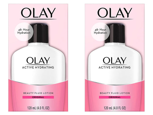 Face Moisturizer by Olay, Active Hydrating Beauty Fluid Lotion, Original Facial Moisturizer, 4 Oz. (Pack of 2)