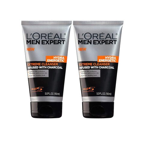 L'Oreal Paris Skincare Men Expert Hydra Energetic Facial Cleanser with Charcoal for Daily Face Washing, 2 ct