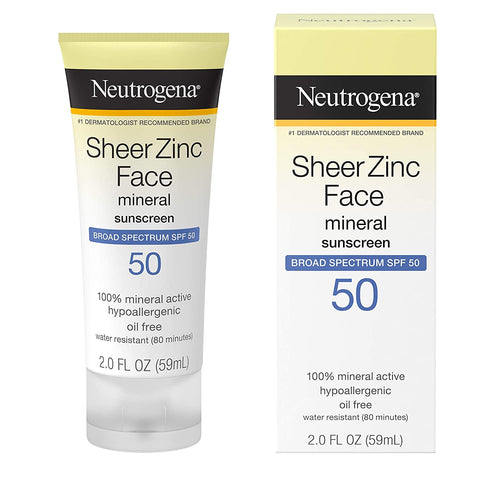 eutrogena Sheer Zinc Oxide Dry-Touch Mineral Face Sunscreen Lotion with Broad Spectrum SPF 50, 2 oz