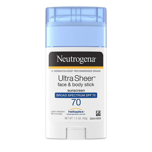 Neutrogena Ultra Sheer Non-Greasy Sunscreen Stick for Face & Body, SPF 70 UVA/UVB Sunscreen Stick, 1.5 oz