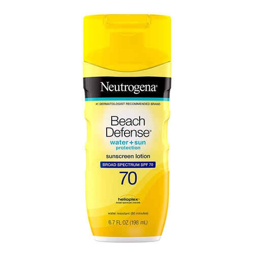 Neutrogena Beach Defense Water Resistant Sunscreen Body Lotion SPF 70, Oil-Free and Fast-Absorbing, 6.7 oz