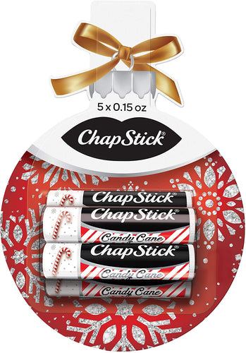 ChapStick Lip Balm Holiday Ornament Gift Pack (Candy Cane, 0.15 Ounce, 5 Sticks), Lip Care, Moisturizer Skin Protectant, Stocking Stuffer