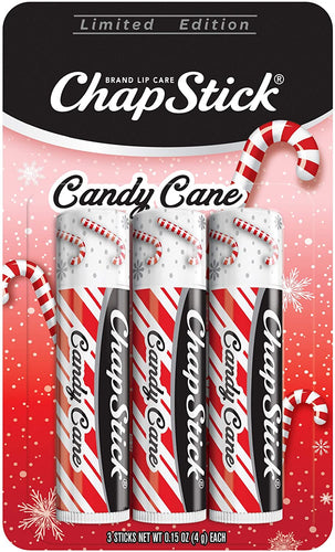 ChapStick Candy Cane Flavor, Three Lip Balm Sticks, Skin Protectant, Lip Care, 0.15 Ounce